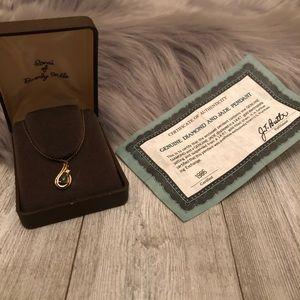 Jewelry - Vintage Diamond and Jade necklace